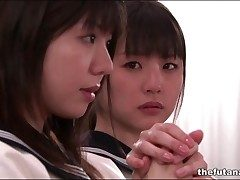 Cute Asian schoolgirls cheat out of around in church