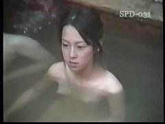 Youthful nude Asians in the public bathtub are stunning