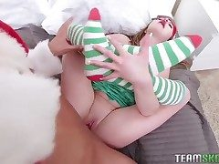 Christmas hardcore with a adorable teenager elf that loves dick