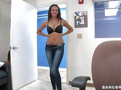 Arousing young looking foreigner brunette Bethany Benz with perfect body